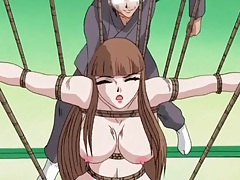 Whipping bound hentai girl had on her back tubes