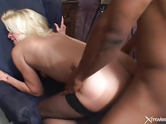 Blonde milf moans with black cock in her asshole tubes