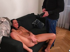 Stroking a dude and dildo fucking her pussy tubes