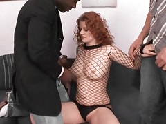 Horny redhead in lingerie sucks dicks tubes