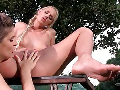 Finger banging and licking ladies outdoors tubes