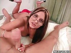 Handjob from glasses girl makes him cum tubes