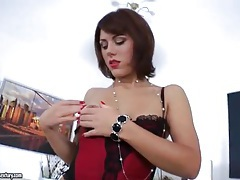 Lipstick lady in lingerie takes toy in the ass tubes