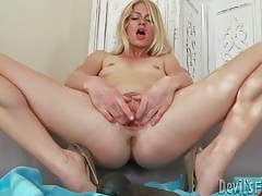 Slim blonde mommy fucks big toys into cunt tubes
