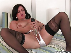 Mature mom masturbates in stockings and crotchless panties tubes