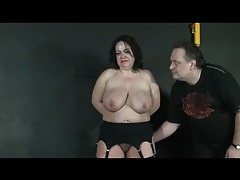 He ties up a fat girl in a pair of stockings tubes