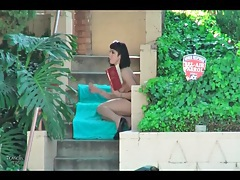 Girl in public gives lots of hot upskirt action tubes