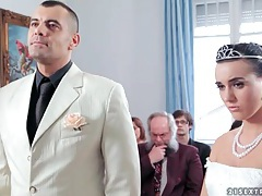 Sexy bride licks his shoes and sucks his cock tubes