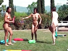 Pool party with lots of hot ladies outdoors tubes