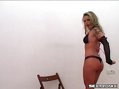 Tattooed chick in sexy panties teases camera tubes