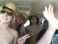 Cowgirl chicks showing off bodies in car tubes