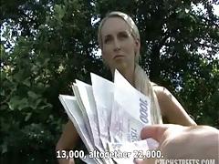 Gorgeous blonde takes cash for public fuck tubes