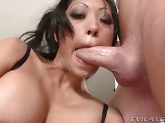 Filling throat of bust milf with hard cock tubes