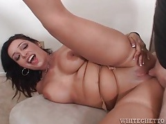 Soft tan stockings on sexy mom he balls deep tubes