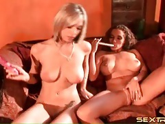 Busty babes fucking their cunts with toys tubes