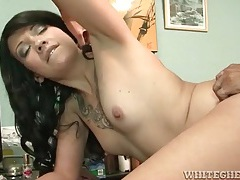 Tattooed chick takes cock and cumshot in office tubes
