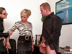 Masturbating guy made to worship ass at work tubes