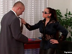 Dominated by office girl in sexy leather pants tubes
