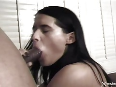 Black dicks visit her asshole and cum on her tubes