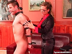 Mistress collars and binds her submissive man tubes