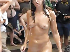 Ladies oil wrestling at naked party tubes