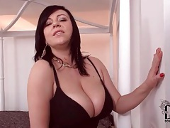 Black lingerie makes her big tits sexier tubes