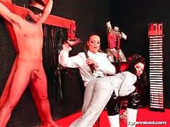 Beautiful mistress in satin spanks girl and guy tube