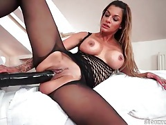 Pierced chick sits on fat dildo and rides it tubes