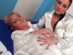 White satin pajamas are sexy on lesbians tubes