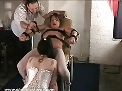 Bound girl eaten out as titties are tortured tubes