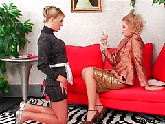 Mistress inspects the tight ass of her french maid tubes