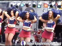Cheerleaders in short skirts on stage at show tubes