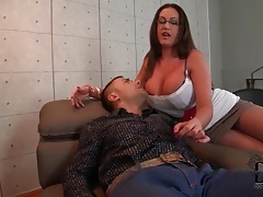 Glasses girl rubs her big tits in his face tubes