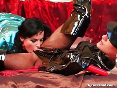 Going down on sexy blonde mistress in black latex tubes