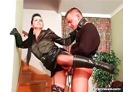 Leashed man ridden hard by girl in satin blouse tubes