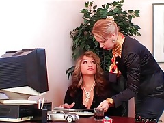 Smoking mistress uses secretary as ashtray tube