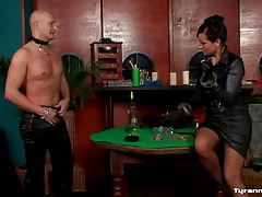 He strips naked to be bound by mistress tubes