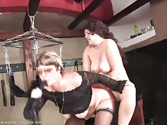 Lesbian sex swing play with deep strapon sex tubes