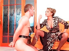 Chained up nipples make him hurt in femdom video tubes