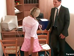 Schoolgirls tie up the teacher in his office tubes