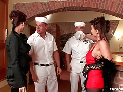 Horny sailors hit on a pair of super hot chicks tubes