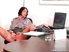 Office babe licks up and down the legs of satin girl tubes