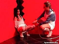 Pretty girl dominated in sensual lesbian video tubes