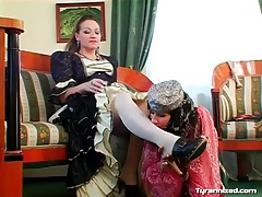 Belly dancing girl licks her mistress for pleasure tubes