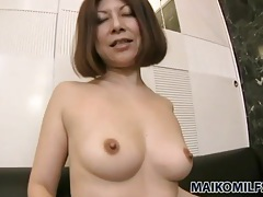 His creampie leaks from her japanese pussy tubes