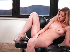 Solo naked blonde in high heels masturbates tubes