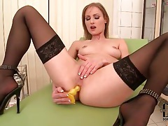 Anal toy sex with a hot chick in stockings tubes
