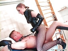 Wicked hot latex mistress sits pussy on a dick tubes