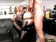 Secretary in stockings fucked in the asshole tubes
