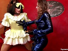 Sissy guy suffers cbt from mistress tubes